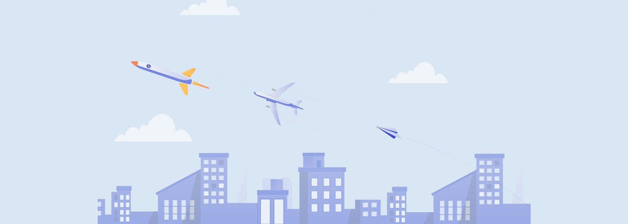 rocket, airplane, and paper plane flying over cityscape