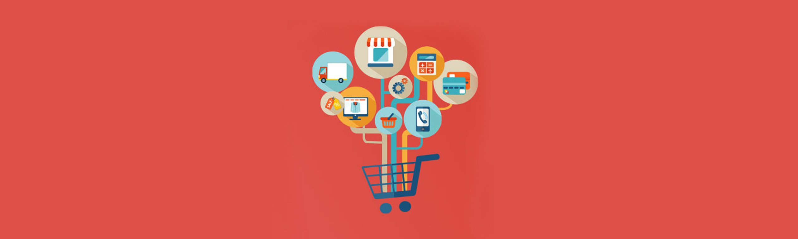 Shopping cart with ecommerce icons on red background