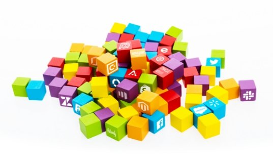 Image of fallen blocks with business app logos in a pile on the ground
