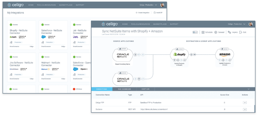 Celigo integrator.io step-by-step wizard guided user interface